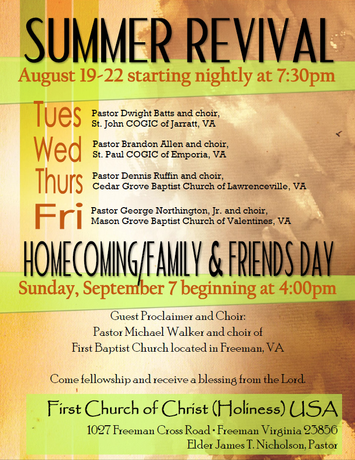 Homecoming/Family and Friends Day @ First Baptist Church | Freeman | Virginia | United States
